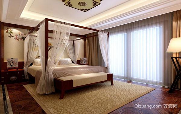 现代中式风格大户型精致卧室吊顶装修效果图