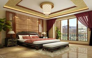 大户型现代中式风格精致卧室背景墙装修效果图