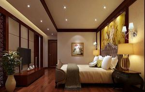 现代中式风格三居室精致时尚卧室装修效果图