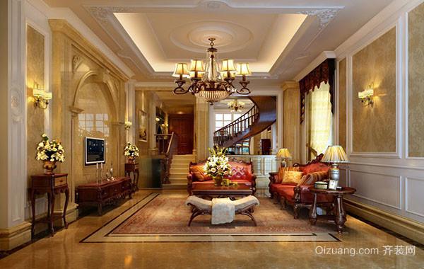 欧式风格精致典雅别墅型客厅装修效果图赏析
