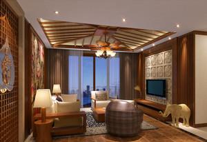 东南亚风格大户型简约客厅吊顶装修效果图赏析