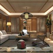 小户型简约东南亚风格客厅吊顶装修效果图