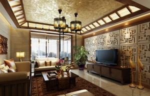 2016年新款大户型东南亚风格客厅吊顶装修效果图