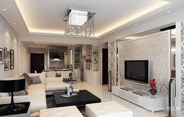 120平米现代简约时尚室内客厅吊顶装修效果图
