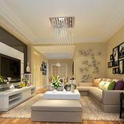 暖色温馨现代简约大户型客厅吊顶装修效果图