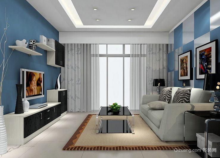 都市小清新自然舒适小户型客厅装修效果图