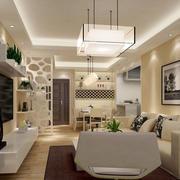 别墅型现代简约风格暖色调客厅装修效果图