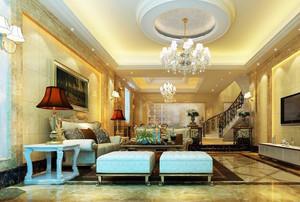 2016别墅欧式客厅室内设计装修效果图欣赏
