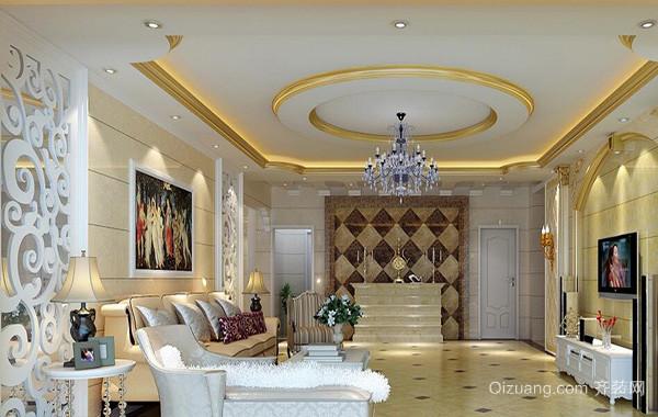 别墅客厅室内电视背景墙设计装修效果图