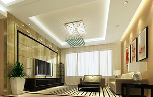 2016年两室两厅现代简约客厅吊顶装修效果图赏析