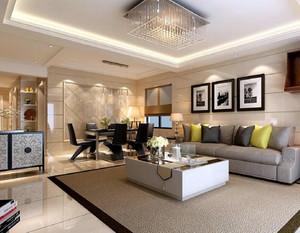 大户型精致现代简约客厅吊顶装修效果图实例