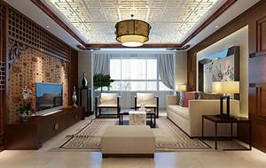 2016别墅精致新中式客厅背景墙装修效果图