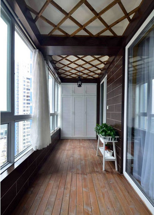 现代简约风格时尚大户型阳台花架装修效果图