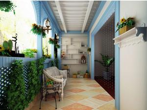 地中海风格自然简约大户型阳台花架装修效果图