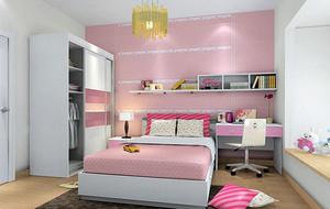 现代简约风格两室两厅粉色主题儿童房装修效果图