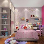 靓丽色彩女生儿童房墙纸设计