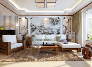 现代中式风格大户型简约时尚室内客厅装修效果图赏析