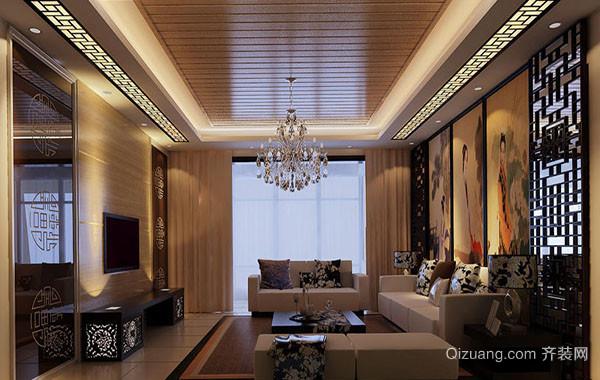 现代中式风格100平米精致室内客厅吊顶装修效果图