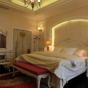 欧式风格精致典雅别墅型室内卧室床头背景墙装修效果图