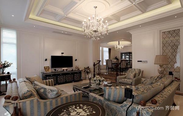 别墅欧式风格客厅电视背景墙装修效果图鉴赏