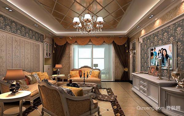 现代别墅欧式客厅室内吊顶设计装修效果图