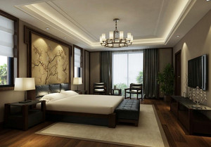 2016年新中式风格精致大户型室内卧室吊顶装修效果图