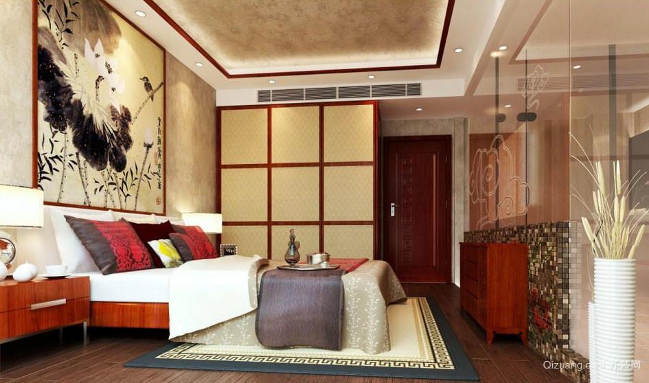 新中式风格时尚创意室内卧室背景墙装修效果图