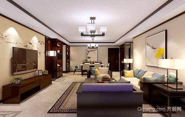 现代中式风格大户型精致室内客厅装修效果图赏析
