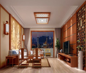 别墅型现代中式风格精致客厅装修效果图实例