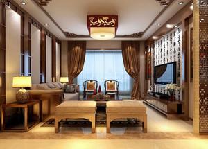 120平米现代中式风格精致室内客厅装修效果图