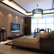100平米现代中式风格简约时尚客厅吊顶装修效果图