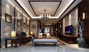 90平米新中式风格精致室内客厅吊顶装修效果图