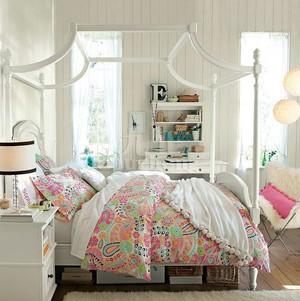 都市小清新80平米简约时尚女生卧室装修效果图