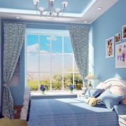 蓝色主题儿童房效果图