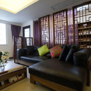 新中式风格客厅屏风装修