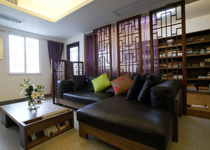 新中式风格大户型型精致室内客厅屏风隔断装修效果图