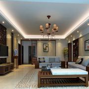 2016大户型中式风格客厅装修效果图欣赏