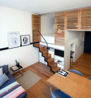 60平米错层北欧风格简约时尚单身公寓装修效果图
