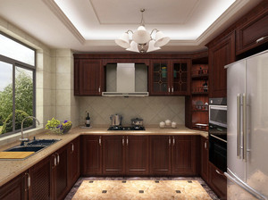 大户型美式风格精致厨房壁柜装修效果图
