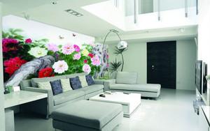 80平米现代简约风格客厅背景墙墙体彩绘装修效果图