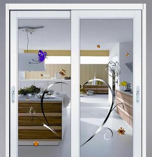 大户型简约时尚创意厨房玻璃门装修效果图
