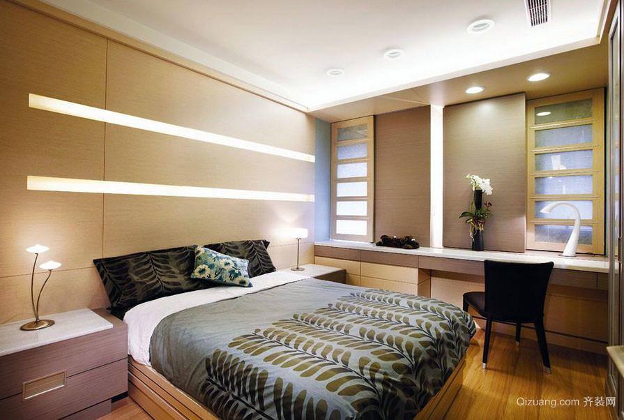 2016年全新款90平米简约风格卧室床头背景墙装修效果图