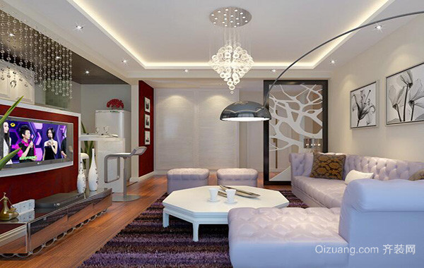 别墅型现代简约客厅吊顶装修效果图欣赏