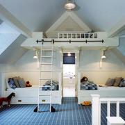 北欧风格自然简约时尚阁楼儿童房装修效果图