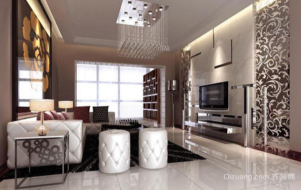 110平米现代简约风格室内客厅吊顶装修效果图赏析