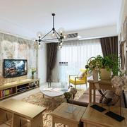 后现代风格时尚创意80平米室内客厅电视背景墙装修效果图