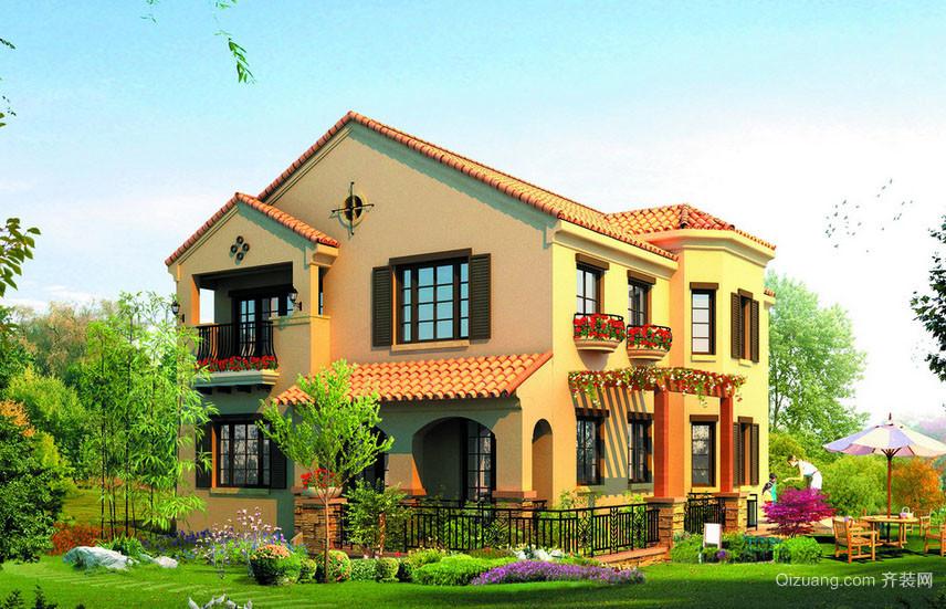 美式乡村风格自建别墅整体设计装修效果图