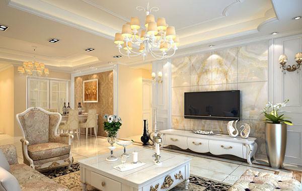 120平米经典欧式风格精致时尚客厅吊顶装修效果图