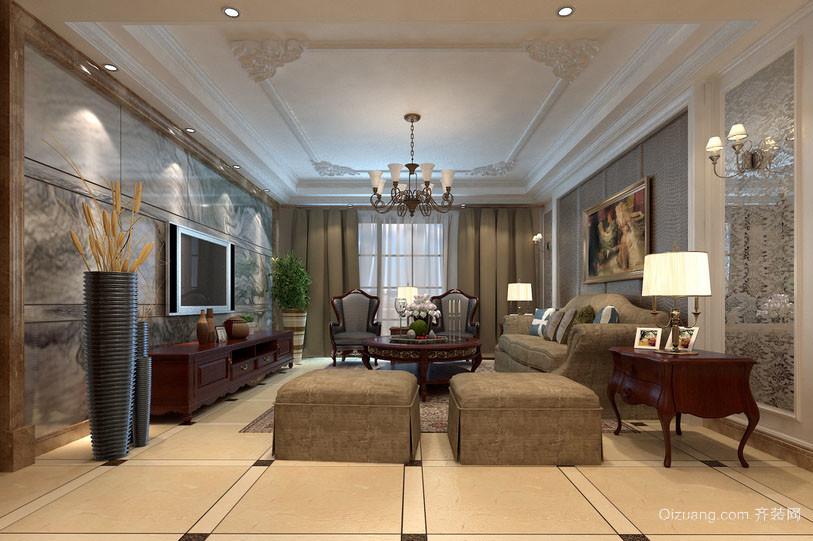 大户型简欧风格精致时尚客厅大理石电视背景墙装修效果图图片
