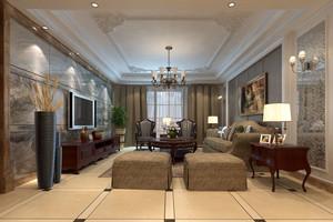 大户型简欧风格精致时尚客厅大理石电视背景墙装修效果图